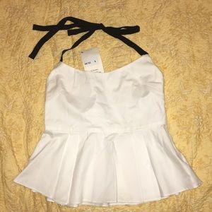 Zara cotton halter top with ribbon halter